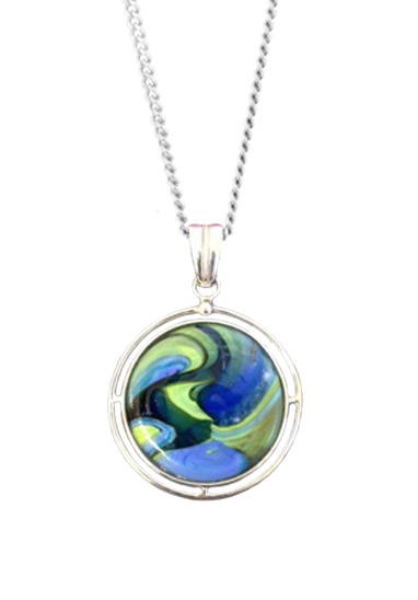colour swirls memorial glass pendant by lorna reade at ashes in glass