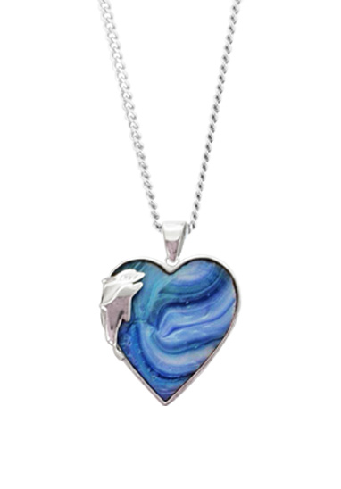 dolphin heart memorial pendant by lorna reade at ashes in glass