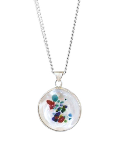 multi colour memorial pendant by lorna reade at ashes in glass